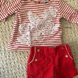 Red stripe tee 3/4 sleeve tee + shorts 6-12 months